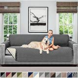"""SOFA SHIELD Original Patent Pending Reversible Oversize Sofa Slipcover, Dogs, 2"""" Strap/Hook, Seat Width Up to 78"""" Washable Furniture Protector Couch Slip Cover for Pets (Oversize Sofa: Charcoal/Linen)"""