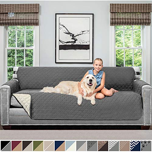 SOFA SHIELD Original Patent Pending Reversible Oversize Sofa Slipcover, 2 Inch Strap Hook, Seat Width Up to 78 Inch Washable Furniture Protector Couch Slip Cover for Pet, Oversize Sofa, Charcoal Linen