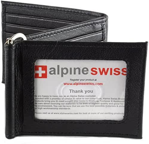 Mens Leather Wallet Spring Money Clip Z Shape Trifold Bifold 11 Card Slots 2 IDs
