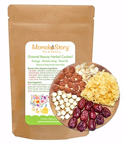 Natural Beauty Enhancing Oriental Soup Mix: Snow Mushrooms, Red Dates, Lily Bulbs, Longan Fruits & Lotus Seeds for Smoothie, Yogurt, Cereal Topping - Vegan (Snow Mushrooms)