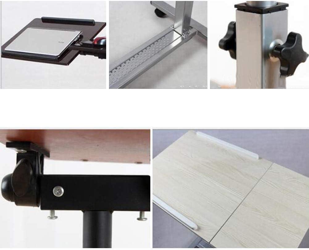 ポータブルモニタースタンドデスクベッドサイドスタディテーブルは、デスクトップを調整可能、2色(色:黒クルミ色、サイズ:70x40CM)に移動できます