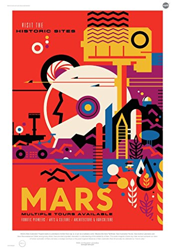 Mars: Visit the Historic Sites - NASA Jpl Space Tourism Travel Poster - Unframed