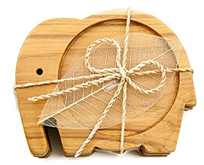 Easy_company Wooden Coasters for Drinks Tea Cups Saucers,Table topper decoration set Elephant shape (Teak wood)
