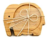 IYARA CRAFT Wood Coasters for Drinks Tea Cups Saucers,Table topper decoration set Elephant shape (Teak wood)