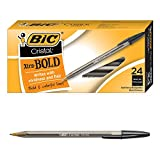 BIC Cristal Xtra Bold Ballpoint Pen, Bold Point (1.6mm), Black, 24-Count