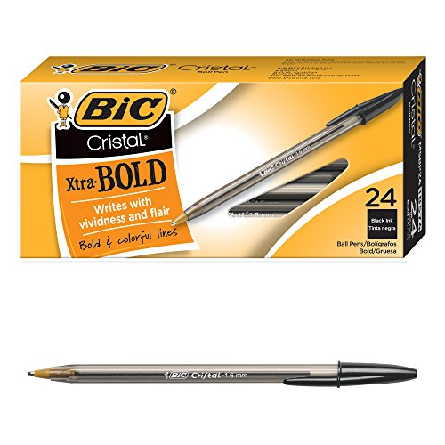 BIC Cristal Xtra Bold Ballpoint Pen, Bold Point (1.6mm), Black, 24-Count ()