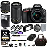 Nikon D5600 DSLR Camera with 18-55mm and 70-300mm Lenses + Filters and 32GB Card and Flash + Kit