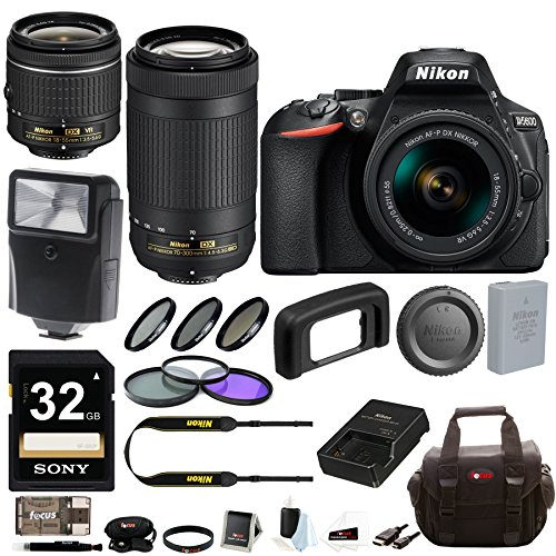 Nikon D5600 DSLR Camera with 18-55mm and 70-300mm Lenses + F