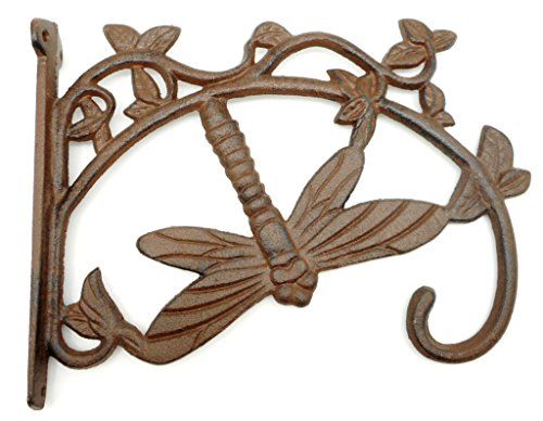 Large Cast Iron Dragonfly Plant Hanger Hook, Rustic Brown Bracket Style Hanging Plant Hook ()