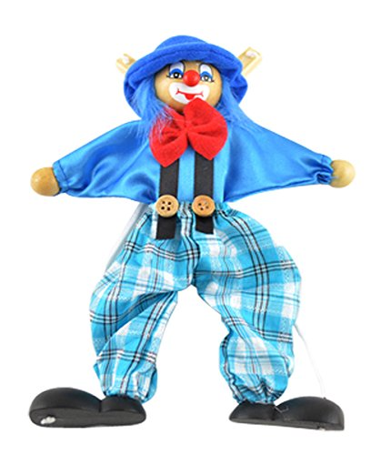 Clown Pull Toy - Wooden marionette PULL clown toys for children(blue)