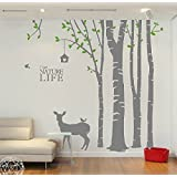vinyl gro wei birke baum wand aufkleber baum aufkleber kinderzimmer birke baum aufkleber. Black Bedroom Furniture Sets. Home Design Ideas