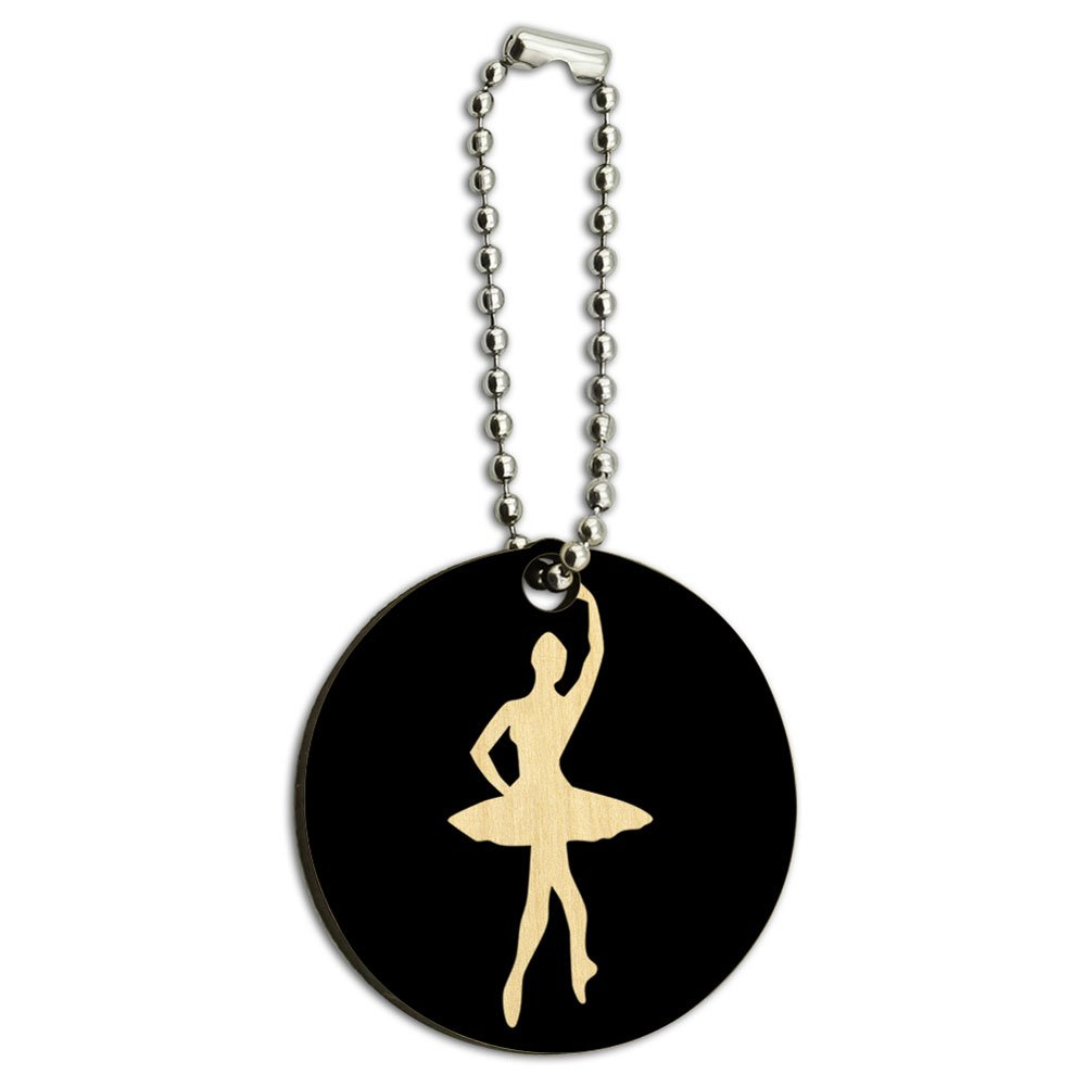 Ballet Ballerina Wood Wooden Round Key Chain
