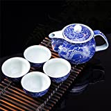 Exquisite 5 PCS Blue-And-White Dragon Design