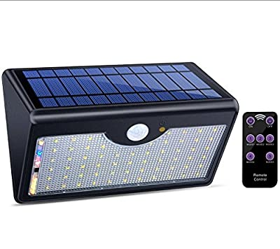Solar Lights Outdoor with Remote Control, 1300LM 60 LED Wireless Waterproof Solar Motion Sensor Security Light with Wide Detection Angle for Garden, Pathway, Driveway
