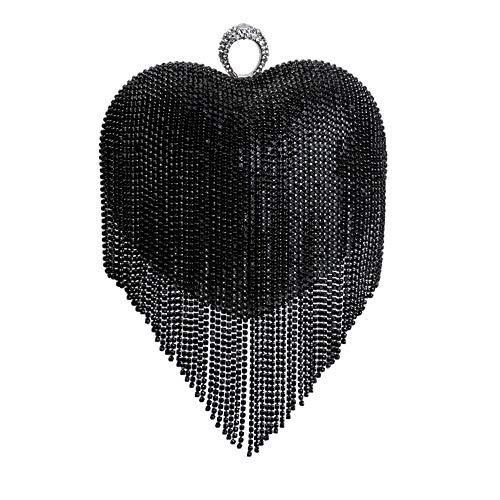 Clutch Sac Forme Peach Main Pochette Bourse Sac En Gland Coeur Diamant Coloré Prom D'embrayage Femme Black Soirée Fête Mariage De à wqaSn