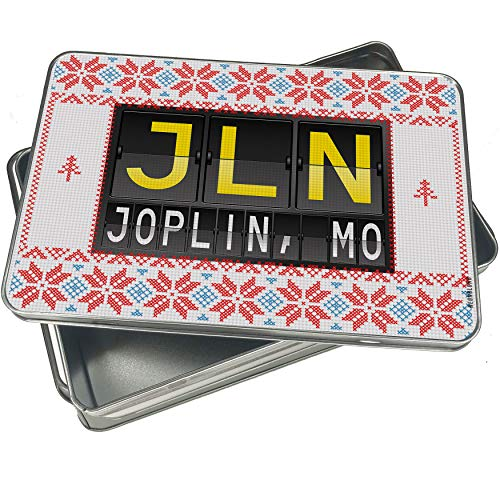 NEONBLOND Cookie Tin Box JLN Airport Code for Joplin, MO Vintage Christmas Pattern ()