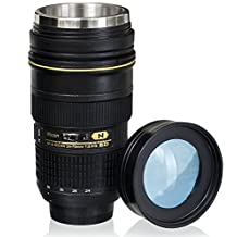 Lens Cup with Stainless Steel Insulated Tumbler, 1:1 Camera 24-70mm F2.8G Lens Imitation, 16oz (TRANSPARENT COVER) by OUOH
