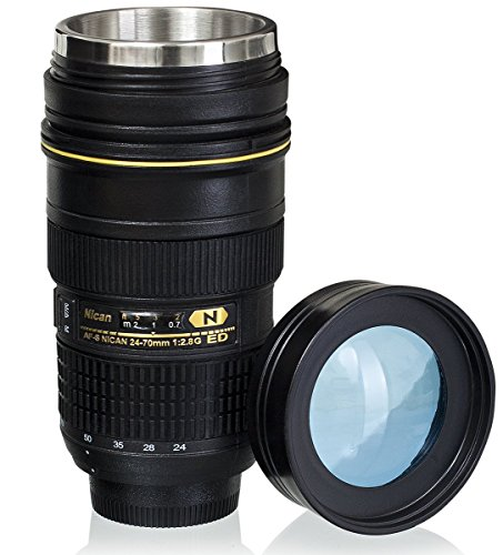 Lens Cup With Stainless Steel Insulated Tumbler  1 1 Camera 24 70Mm F2 8G Lens Imitation  16Oz  Transparent Cover