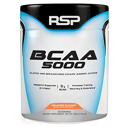 RSP BCAA 5000, Premium BCAA Powder for Post Workout Muscle Recovery, Endurance & Energy, 5g of Essential Branched Chain Amino Acids per Serving, 30 Servings (Orange Mango) by RSP Nutrition