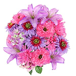 Admired By Nature GPB7357-ORCHID MIX Faux Ranunculus Lily Hydrangea Mixed Flower Bush 63
