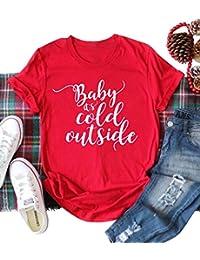 NANYUAYA Women Short Sleeve Baby It's Cold Outside Letter Print Christmas T-Shirt