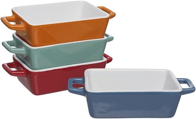 Set de 4 mini fuentes para horno de colores, ideales para lasañas, pasteles, tapas y más