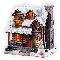 Collections Etc Indoor Christmas Decorations, Smoking Country Cabin with Snowman Incense Burner