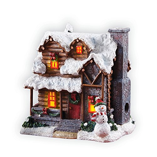 Indoor Christmas Decorations, Smoking Country Cabin with Snowman Incense Burner