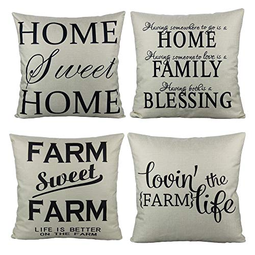 All Smiles Farmhouse Style Decorative Throw Pillow Cases Cushion Covers 18x18 Set Of 4 For Sofa Couch Home Sweet Home Rustic Décor Outdoor Quote Saying Words Christmas Decorations Buy Online In Botswana
