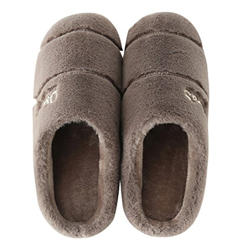 Cattior Heren Fleece Warme Huis Slippers Slaapkamer Slippers Koffie