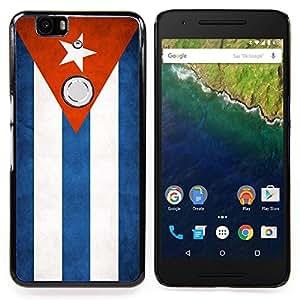 "Qstar Arte & diseño plástico duro Fundas Cover Cubre Hard Case Cover para Huawei Google Nexus 6P (Bandera nacional de la Serie-Cuba"")"