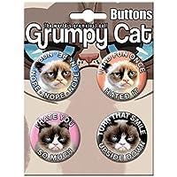 """Ata-Boy Grumpy Cat Surtido # 1 Juego de 4 botones coleccionables de 1.25 """""""