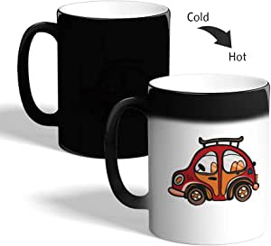 كوب القهوة السحري، اسود،  بتصميم سيارة حمراء