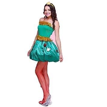 4b0da56d9ccc4 Yunfeng Costume de père noël pour Femme Ludique Sapin Vert Elf Costume Noël  Arbre de Noël