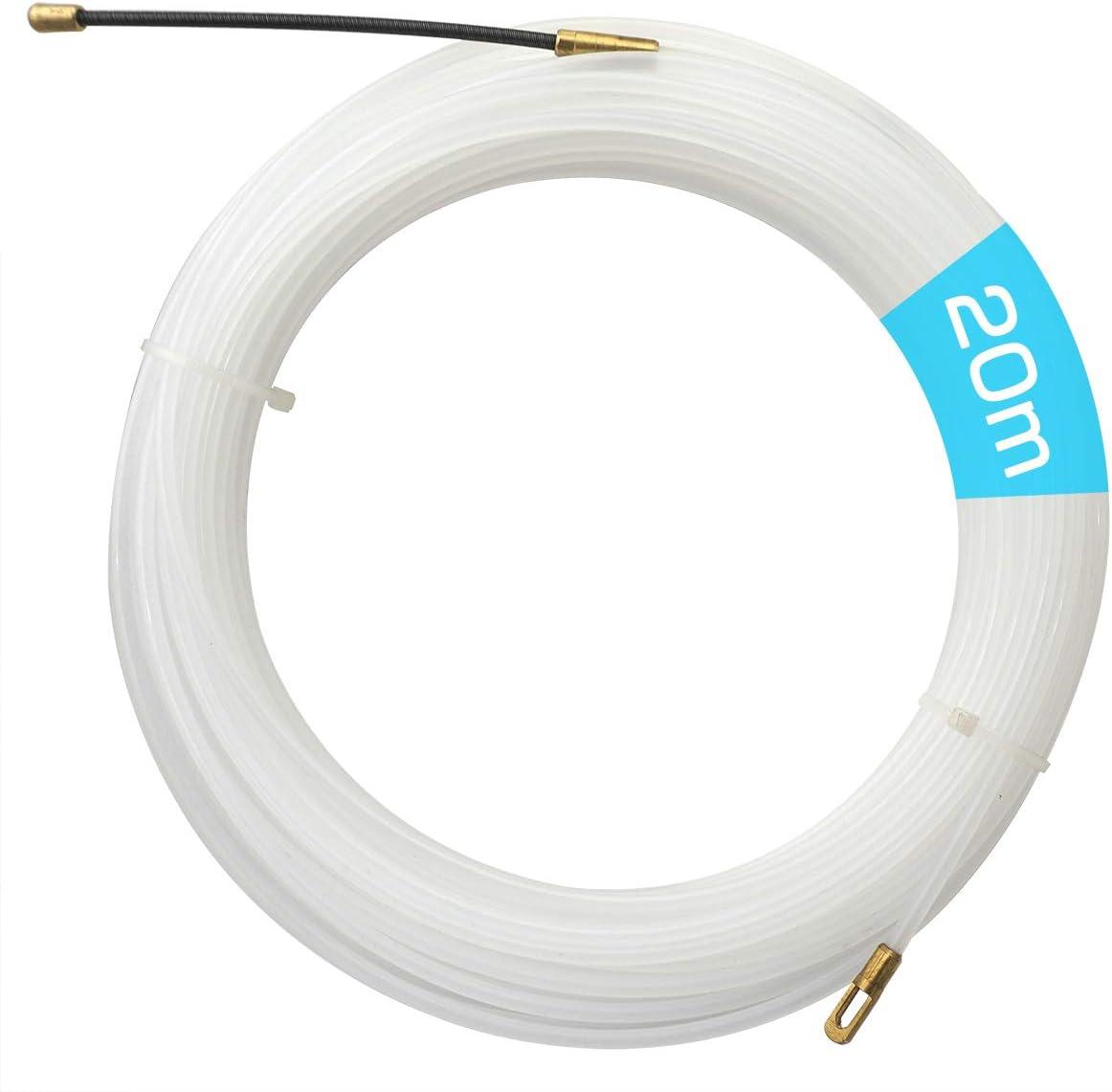 Akuoly 20M Einziehband Einziehdraht Einziehspirale Einziehhilfen Einzugsband zur Kabelverlegung /φ4,0mm Nylon