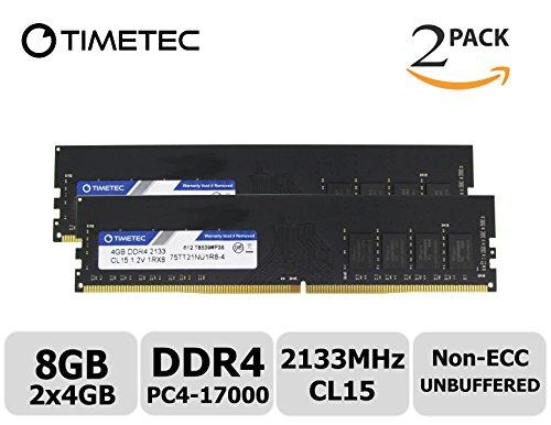 Timetec Hynix IC 8GB Kit (2x4GB) DDR4 2133MHz PC4-17000 Non ECC Unbuffered 1.2V CL15 1R8 Single Rank 288 Pin UDIMM Desktop PC Computer Memory Ram Module Upgrade (8GB KIT (2x4GB))