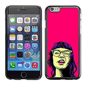 Shell-Star Arte & diseño plástico duro Fundas Cover Cubre Hard Case Cover para Apple iPhone 6 Plus(5.5 inches)( Girl Portrait Pop Culture Glasses Pink Neon )