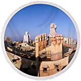 Pixels Round Beach Towel With Tassels featuring ''Architectural Details Of Rooftop'' by Pixels
