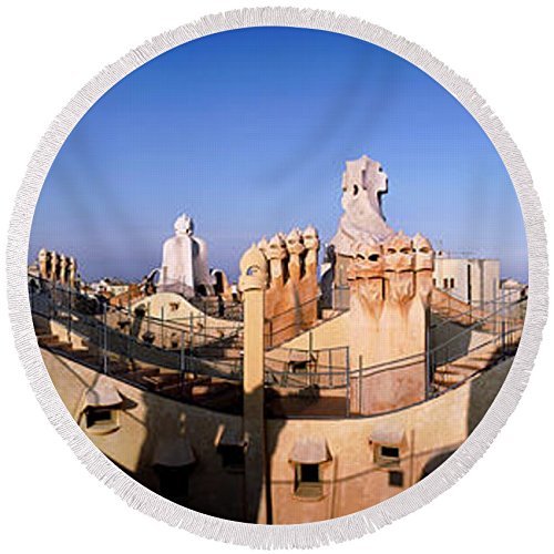 Pixels Round Beach Towel With Tassels featuring ''Architectural Details Of Rooftop'' by Pixels by Pixels