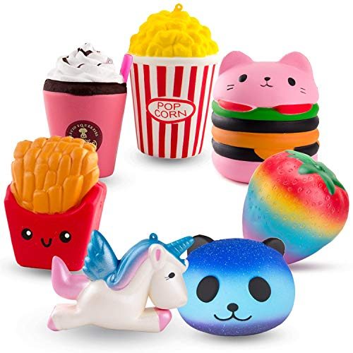 R.HORSE Cute Unicorn, Hamburger, Popcorn Set Kawaii Cream Scented Squishy Soft Decompression Squeeze Toys for Kids or Stress Relief Toy Hop Props, Decorative Props Large (7 Pack) (Soft N Slo Squishies Toys R Us)