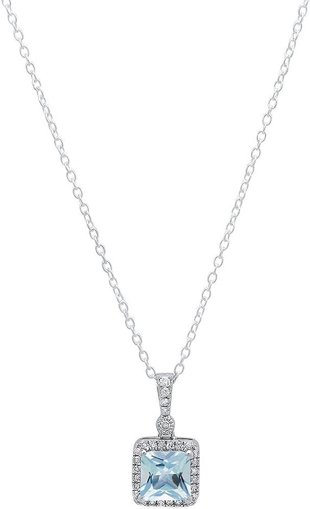 DazzlingRock Collection 14K Oro Blanco 7mm Princesa Gemstone & Round Diamante Señoras Colgante (Cadena de Plata Incluidas)
