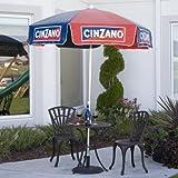 Heininger 1378 Cinzano Red and Blue 6′ Vinyl Patio Pole Umbrella