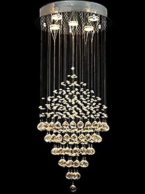 Ella Fashion? Deluxe Modern Chandelier Rain Drop Lighting Crystal Ball Fixture