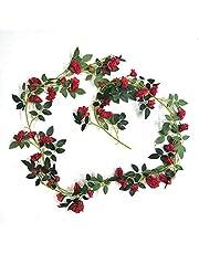 Fliyeong Artificiell siden ros blomma murgröna vinrankor blad girlanger hem väggdekor fest dekor för att dekorera bröllopsfest ditt hem och trädgård dekoration röd blomma