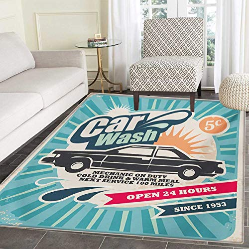 Retro Door Mat Rug Retro Car Wash Auto Service Repair Poster