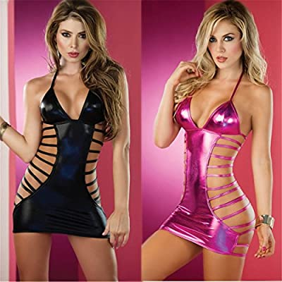 Women's Sexy Babydoll Hanging neck formula Patent leather