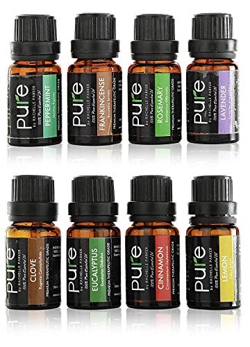 Essential Oils Set Aromatherapy Kit- 8 Top Essential Oil Starter Set includes Frankincense, Rosemary, Lavender,Cinnamon, Clove,Peppermint, Eucalyptus & Lemon Essential Oil! (Top 8 Starter Kit)