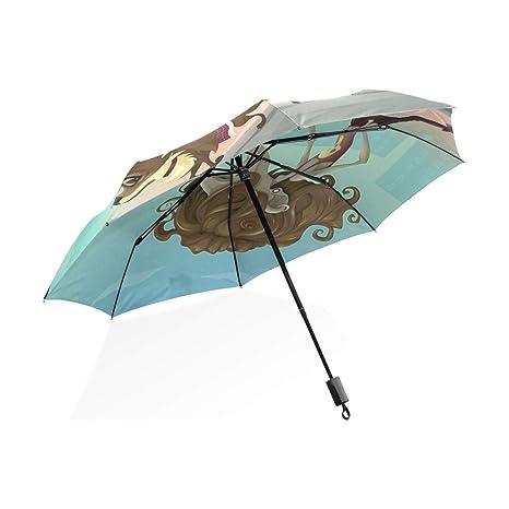ISAOA Paraguas de Viaje automático Compacto Plegable Paraguas Joven Hombre Caminando el Perro Resistente al Viento