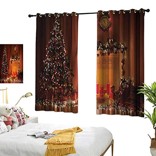 (Anshesix Kids Room Curtains Christmas Romantic Xmas Room with Candles Lights Presents Toys Fairy Festive Magic Picture W55 xL72 Orange Suitable for Bedroom Living Room)