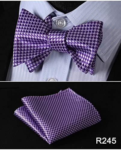 Color: R249 Graven Floral Check Dot 100/% Silk Jacquard Woven Men Butterfly Self Bow Tie Bowtie Pocket Square Handkerchief Hanky Suit Set #RM1